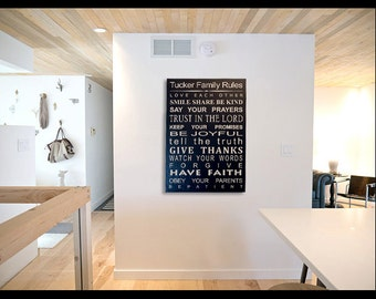 LG Custom Family Rules / Values, Quote, Wall hanging, Word Board, art, Sign, Plaque, Subway style, Typography