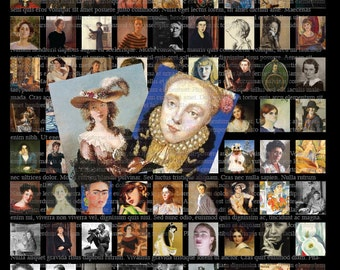 Digital Collage Sheet Scrabble Size Famous Women Artists .75 inches by .83 inches