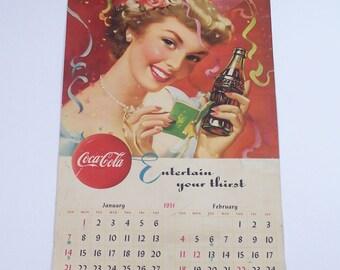 1951 vintage original Coca-Cola advertising calendar complete