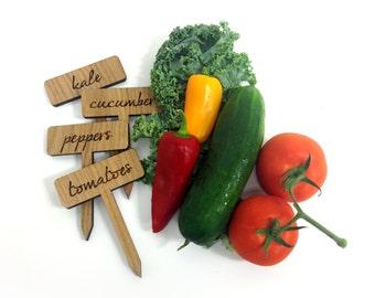 Vegetable Garden Plant Markers / Custom Wood Engraved Set of 4 Labels