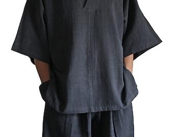 ChomThong Hand Woven Cotton Japanese kimono Pullover  (BFS-104-01)