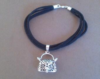 925 Sterling silver purse charm bracelet