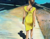 "Walk On The Boardwalk - 12"" x 12"" - acrylic painting on art board, woman with yellow dress, one-point perspective, bright sunny day - JackGrunskyArt"