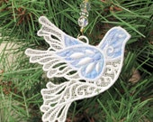 Dove Christmas Ornament, Wedding Decoration, Machine Embroidered Appliqued Lace, White, Blue, Gold, Purple