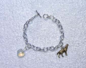 Inspired Bella's Wolf And Crystal Heart Charm Bracelet