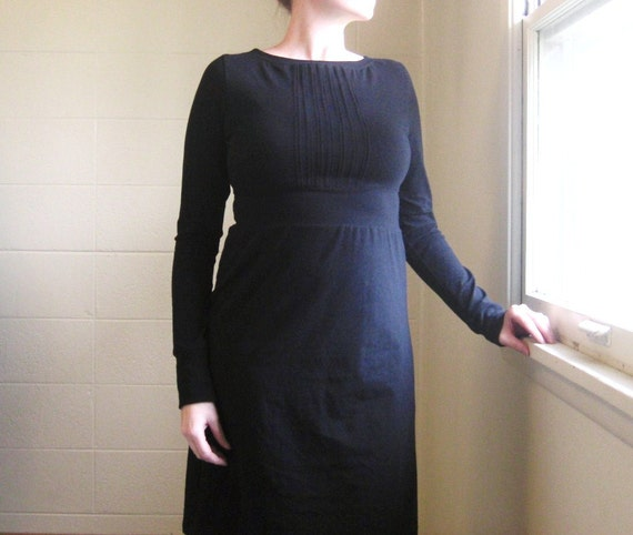 Long Sleeve Dress Womens Pleated Front Empire Waist Cotton Jersey Dress Holiday party dress knee length black winter dress - Made to Order