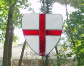 RESERVED for KP St George Stained Glass Suncatcher Shield Made to Order /White w/ a Red cross, Patron Saint of England