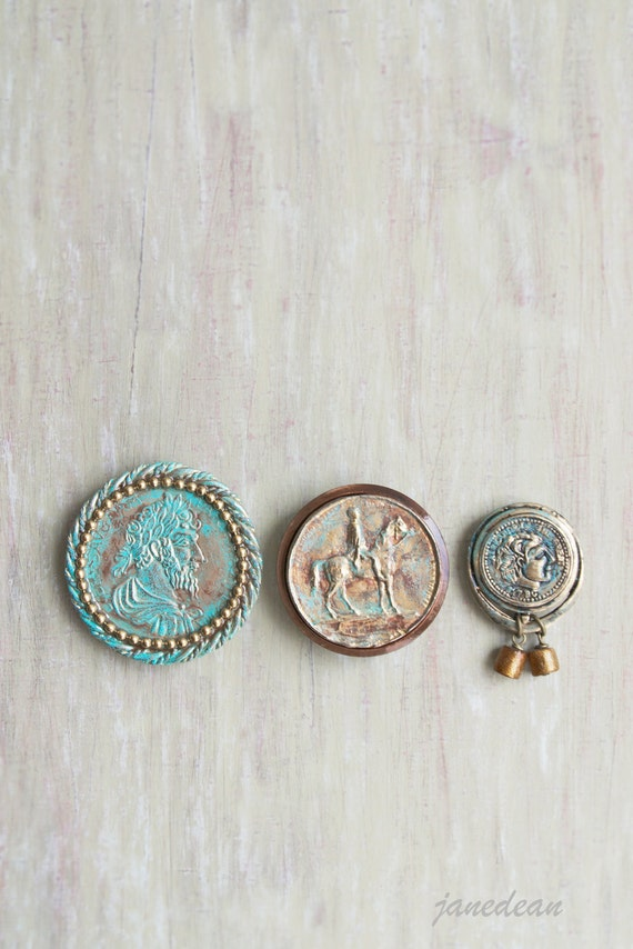 3 Roman Coin Magnets - recycled vintage jewelry and buttons