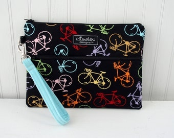 Kindle / iPad Mini / Nook / eReader / Padded Pouch / Bag / Wristlet- Shaz Bicycle