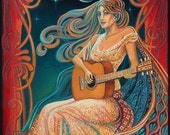 Gypsy Moon Psychedelic Goddess Of Music 5x7 Greeting Card