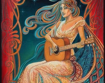 Gypsy Moon 5x7 Greeting Card Psychedelic Goddess Of Music Pagan Bohemian Mythology Goddess Art