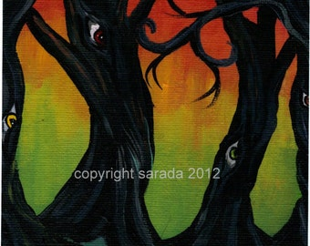 Rainbow gothic psychedelic tree art 5 x 7 print, Forest of Eyes, pop surrealism dark fantasy colorful haunted forest spooky weird