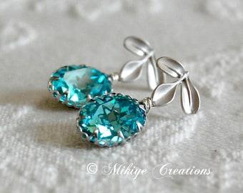 Bridesmaid Earrings, Wedding Jewelry, Prom Earrings, Bridesmaid Gift, Bridal Earrings, Prom - Light Turquoise Swarovski Crystal Earrings