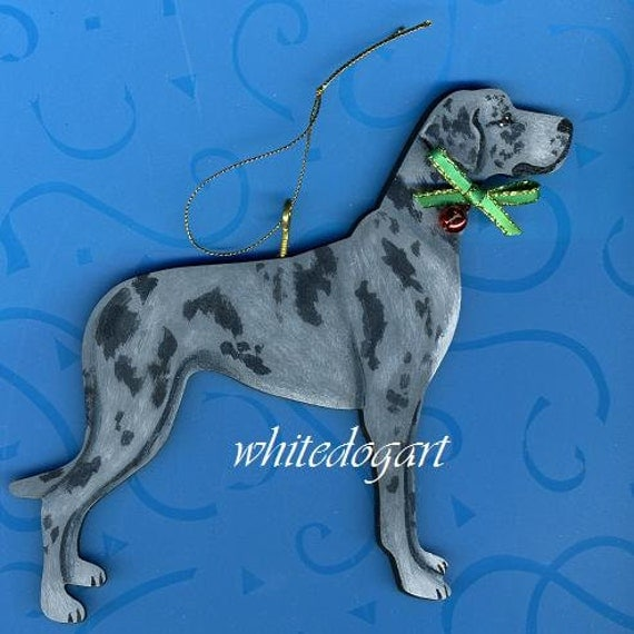 Custom Uncropped Blue Merle Great Dane Christmas Ornament