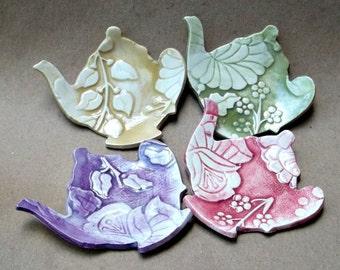 Four Ceramic Damask Teapot Tea bag Holders