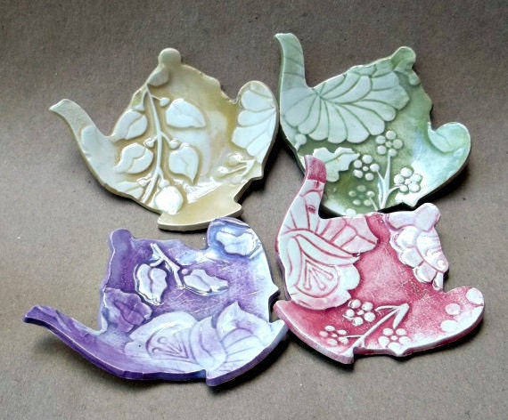Four Damask Teapot Tea bag Holders