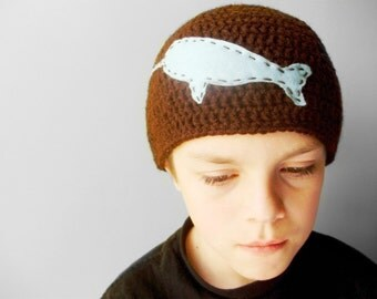 Crochet Hat - Dreamy Narwhal Hat in Brown with Dusk Blue Felt- Snug Science Nerd Crochet Hat for Baby / Toddler / Boy / Girl / Man / Woman