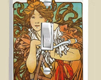"""Alphonse Mucha """"Cycles Perfecta"""" Art Nouveau - Single Toggle Light Switch Cover - Brown, Red, Green and White"""