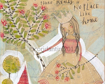 crown - no place like home - folk  painting - watercolor - archival - limited edition - 8 x 10 inches