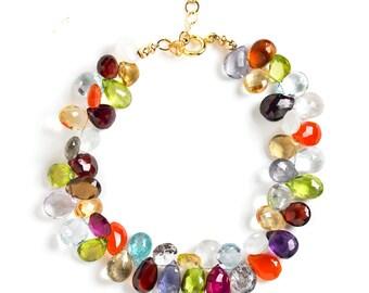 Multi Gemstone Bracelet, Colorful Bracelet, Beaded Bracelet, Luxe Bracelet, Bridal Jewelry, Gifts for Her