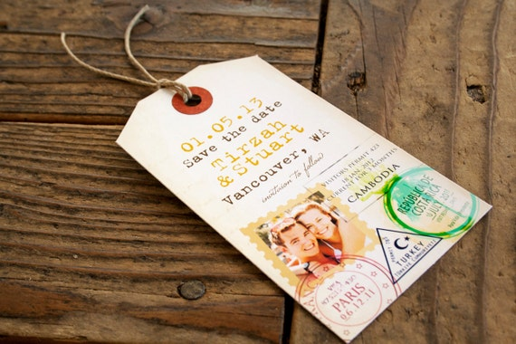 Passport Stamp - Destination Save the Date Tag with Magnetic backing - Unique Save the Date - Design Fee