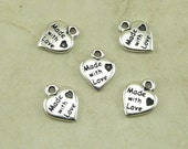 5 TierraCast Hand Made With Love Heart Charms - Tag Drop Handmade - Silver Plated Lead Free Pewter - I ship Internationally  2180