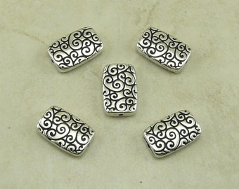 5 TierraCast Rectangle Scroll Swirl Spiral Beads > Ornate Zen Tangle Doodle - Silver Plated Lead Free Pewter - I ship Internationally 5670