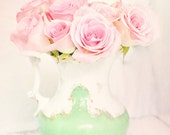 Treasury Pink roses dreamy photography 8x10 mint pink pastel shabby cottage romantic home decor wall art photography print