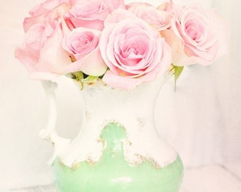 Pink roses dreamy photography mint pink pastel shabby cottage romantic home decor wall art photography print