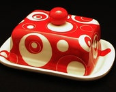 Butter Dish.Solid Red Knobbed Double Butter Dish.Red.Double.Circles.Dot.Butter.Handmade by Sara Hunter Designs.