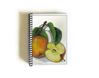 Apples Spiral Bound Writing Journal, Natural History, Spiral A6 Pocket Notebook, Diary, Back to School Blank Paper Notebook, Sketchbook