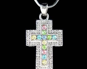 Swarovski Crystal Pastel Cross Jesus God Religious Jewelry Pendant Necklace Christmas Best Friend Gift New