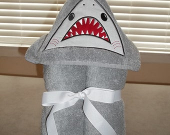 Towel Hoodie - Personalized Shark Hooded Towel with attached Fin - Beach Coverup - Embroidered Shark child's towel wrap - Child's pool Towel