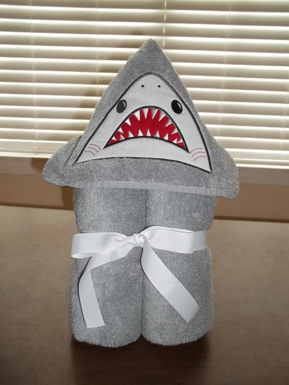 Shark Hooded Towel - Personalized Kid's Birthday Gift, - Embroidered Shark child towel wrap - Child's Bath Wrap - Easter Gift
