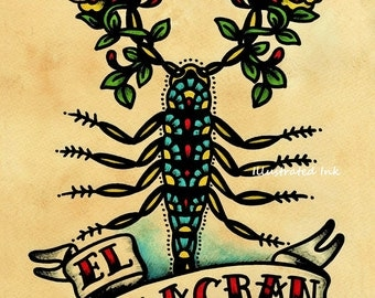 Old School Tattoo Art Scorpion EL ALACRAN Loteria Print 5 x 7, 8 x 10 or 11 x 14