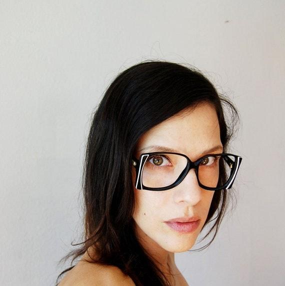 vintage GEOMETRIC glasses / 1950s white STRIPES black frames