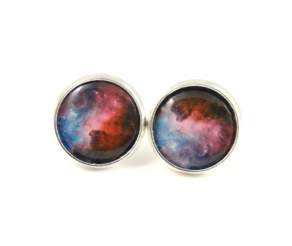 Galaxy Stud Earrings - Purple Blue Galaxy Earrings - Galaxy Jewelry - Nebula Post Earrings - Purple Blue Earring Posts