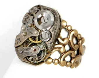 Steampunk Unisex Antiqued Brass Ring with Vintage Watch Movement and Thick Band by Velvet Mechanism