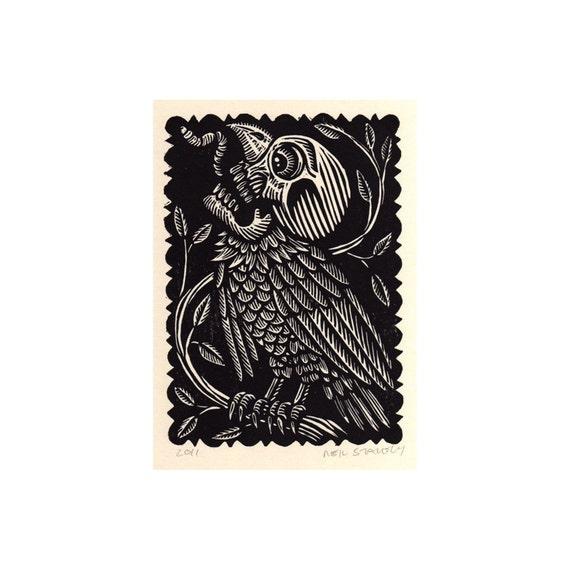 Skull Vulture Harpy Linoleum Block Print