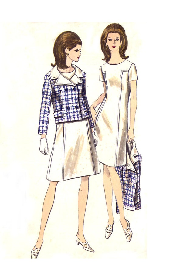 60s Mod Dress & Jacket - Vogue 6996 - Seam Detail - Young Fashionables - Vintage Sewing Pattern - Size 14 / Bust 34