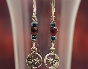 Sterling Silver Crescent Moon & Star French Hook Dangle Earrings