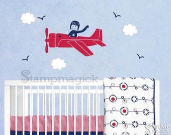 Airplane Wall Decal for Baby Boy Nursery - Flying Plane Vinyl Wall Art Decor Sticker with Pilot - K043B