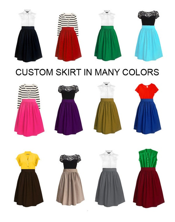 Reserved for Catherine - Custom cotton skirt - custom size, length and color for your everyday look, party, bridesmaids, holiday
