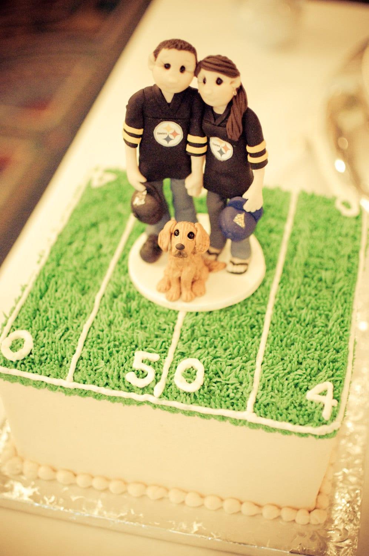 Custom Bride And Groom Football Fans Wedding Cake