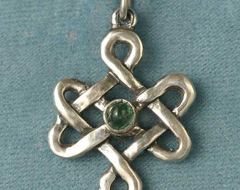 Celtic Endless Knot set with an Emerald Sterling Silver Pendant