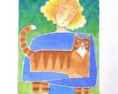 Cat Lady Art/ Original Watercolor Painting/ Orange Tabby  by Susan Faye