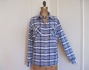 1980s Navy, Pale Pink, and Metallic Gold PLAID Cotton Button Up SHIRT Blouse - made in India - size large to extra large, l/xl