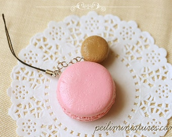 Macaron Keychain - Macaron Phone Charm Bag Charm - Strawberry and Caramel Macaron - Wedding Favors