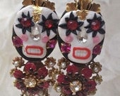 Lilygrace Calavera Earrings, White Skulls with a Crown, Freshwater Pearls  and Vintage Rhinestone Eyes