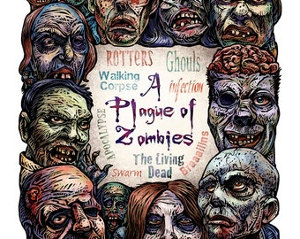 "A Plague of Zombies 11"" x 14""  Zombie Art Print"